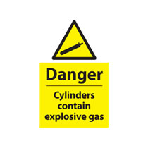 Danger Cylinders Contain Explosive Gas Sign