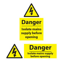 Danger Isolate Mains Sign
