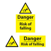 Danger Risk of Falling Sign