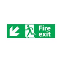 Fire Exit Sign Left Down Diagonal Direction Arrow