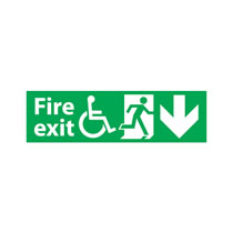 Fire Exit Sign Down Arrow Disabled