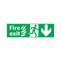 Fire Escape Sign 'Flame Image' Down Arrow