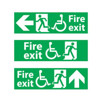 Fire Exit Sign Disabled with Direction Arrow