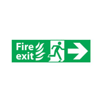 Fire Escape Sign 'Flame Image' Right Arrow