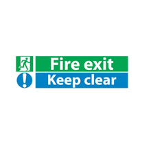 Fire Exit Sign 'Keep Clear' No Direction Arrow