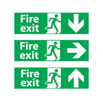 Fire Exit Signs with Directional Arrow