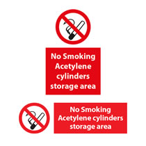 No Smoking Acetylene Cylinders Storage Area Signs