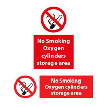 No Smoking Oxygen Cylinders Storage Area Signs